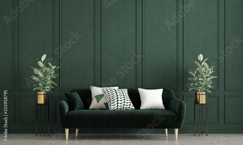Photo Modern loft living room interior design and green pattern wall background