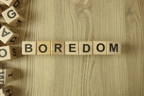Photo Word boredom from wooden blocks