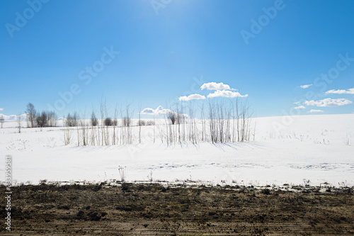 Fényképezés Winter landscape with snowy white field, trees and blue sky