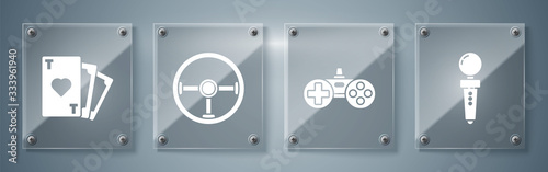 Set Joystick for arcade machine, Gamepad, Steering wheel and Playing card with heart symbol. Square glass panels. Vector