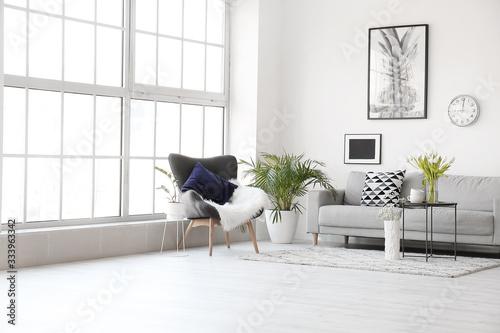Obraz Interior of modern room with comfortable sofa - fototapety do salonu
