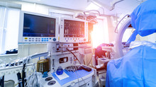 Preparing For The Coronovirus Epidemic. Ambulance Station. Intensive Care Unit With Artificial Lung Ventilation Apparatus. Pneumonia Diagnosting. COVID-19 And Coronavirus Identification. Pandemic.