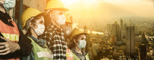 Factory Workers With Face Mask...