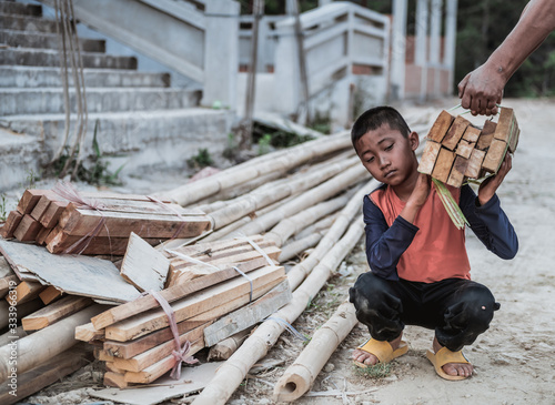 Children are forced to work in construction areas Canvas Print