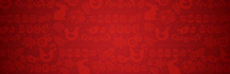 Red Easter banner with eggs with flowers, leafs and rabbit. Easter Day holida...