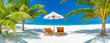Tropical beach background as summer landscape with lounge chairs and palm trees and calm sea for beach banner