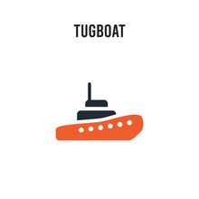 Tugboat Vector Icon On White B...