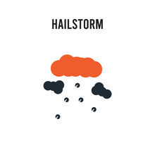 Hailstorm Vector Icon On White...