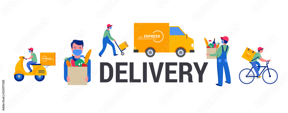 Fototapeta Safe online delivery during the coronavirus pandemic - online order tracking, delivery door to door, home and office. Warehouse, truck, drone, scooter and bicycle courier, delivery man in respiratory