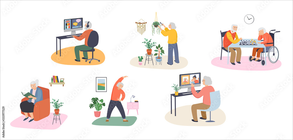 Fototapeta Elderly, old people, senior people at home, playing chess, chatting on computer with grandchildren, reading books, working out, learning languages. Vector illustration, cartoon set