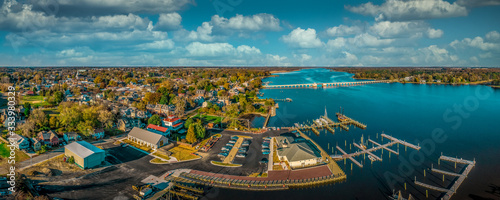 Fotografie, Obraz Aerial summer view of colonial Chestertown on the Chesapeake Bay in Maryland USA