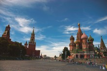 The Colourful Onion Domes Of The Iconic St Basils Cathedral On Red Square In Moscow, Russia