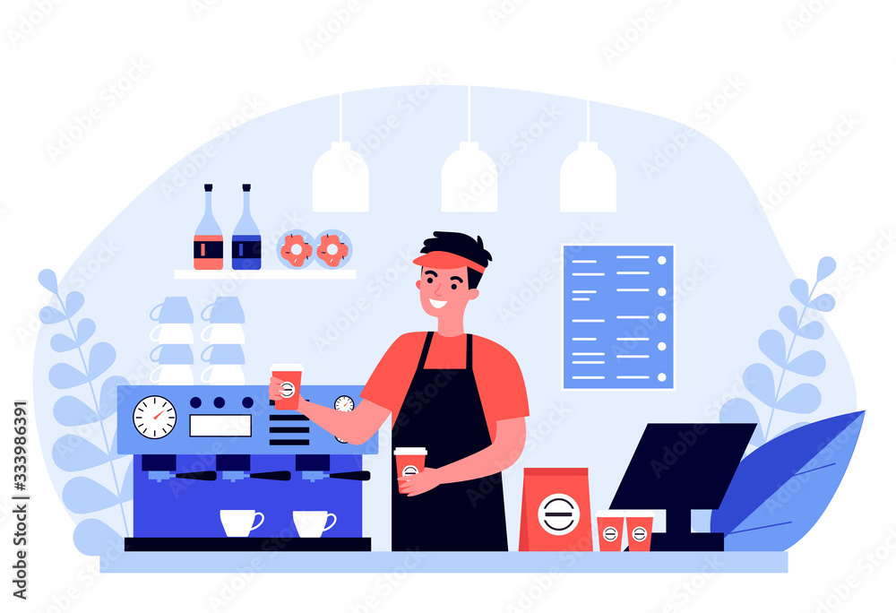 Fototapeta Happy young barista making coffee for customer flat vector illustration. Man standing behind counter and offering hot drink. Service, station and lunch concept.