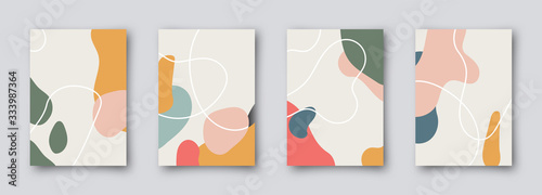 Fototapeta Modern brochure covers set, futuristic design. Abstract Diffuse colored spots background. Vector template minimalist poster, pop art flyer, hipster style, typography wallpaper Art, print, web banner. obraz
