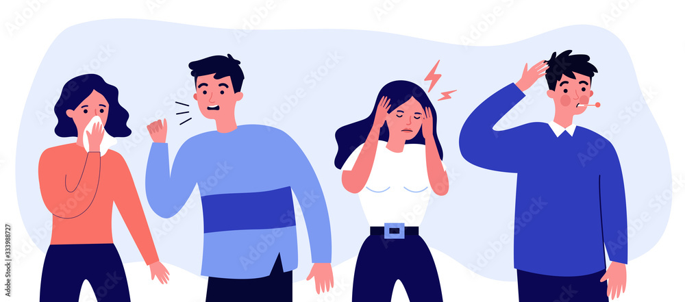 Fototapeta Young people suffering from flu symptoms flat vector illustration. Cartoon infographic person sneezing and coughing. Sad woman with headache. Healthcare and sickness concept.