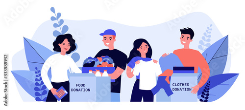 Happy volunteers donating clothes and food for charity flat vector illustration Wallpaper Mural