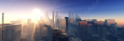 Modern city at sunrise, panorama of skyscrapers in the sunshine, modern high-rise buildings against the sky with the sun, 3D rendering