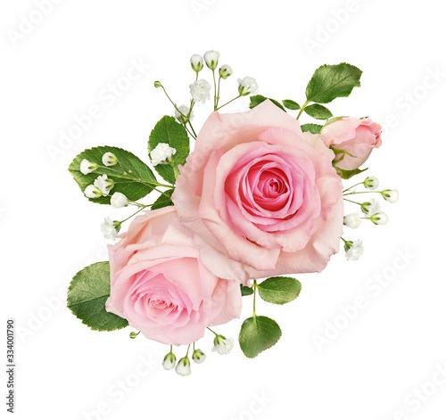 Fotografie, Obraz Pink rose flowers in a floral arrangement