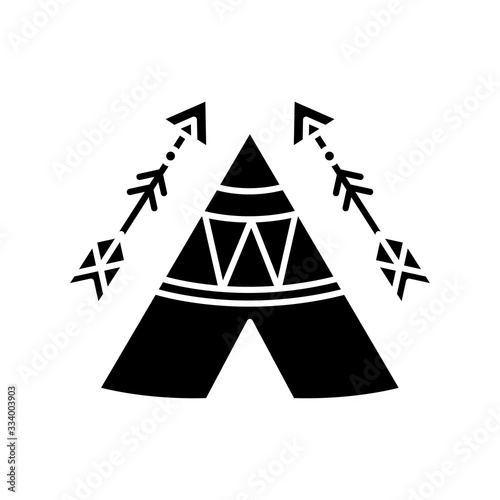 Fotomural Tribal teepee in boho style black glyph icon
