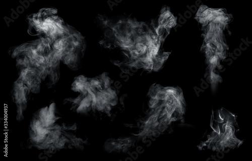 Fotomural Fog or smoke set isolated on black background