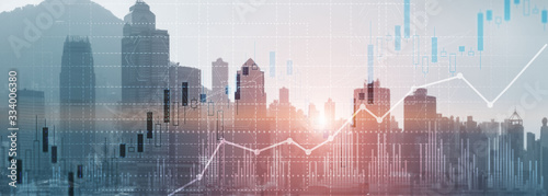 Fototapeta Financial concept investment graph chart diagram double exposure city view skyline. obraz