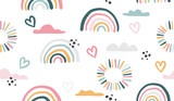 Seamless vector pattern with hand drawn rainbows and sun. - 334014907
