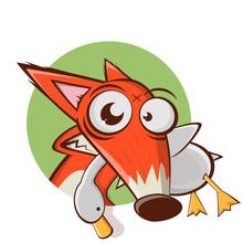 Funny Cartoon Fox With Goose I...
