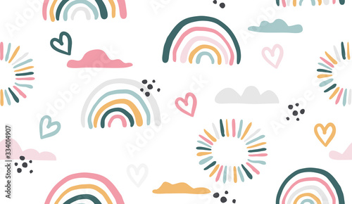 Cuadros en Lienzo Seamless vector pattern with hand drawn rainbows and sun.