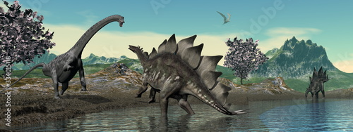 Dinosaur scenery with brachiosaurus and stegosaurus by day - 3D render Canvas Print