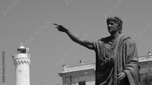 detail of the statue of Nerone in the public square at Anzio Wallpaper Mural