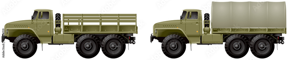 Fototapeta Track, general purpose off-road 6x6 army vehicle, designed as transporting cargo, people and trailers on all types of roads and terrain. Military unit realistic vector illustration