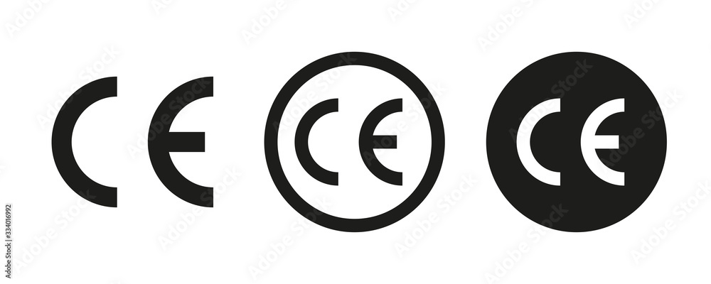 Fototapeta CE vector signs or symbols isolated on white background. Vector icon quality guarantee. Certificate vector icon.