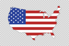 USA Map With Flag And Shadow On Transparent Background. Vector Isolated Illustration. Geography Concept.