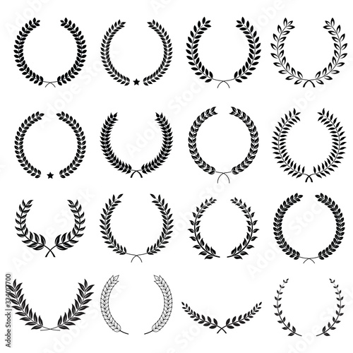 Vászonkép Collection of different black and white silhouette circular laurel foliate  and oak, wreaths depicting an award, heraldry, achievement, victory, crown, winner, ornate,Vector  icon illustration