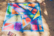 Kid's Sidewalk Chalk Art Abstr...