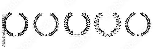 Fotografie, Tablou Collection of different black and white silhouette circular laurel foliate  and oak, wreaths depicting an award, heraldry, achievement, victory, crown, winner, ornate,Vector  icon illustration