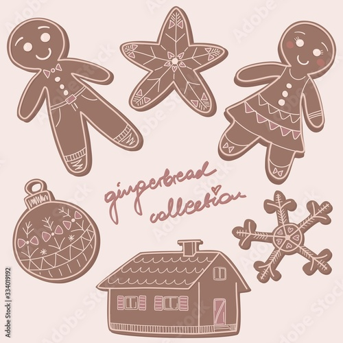 Photo Baked gingerbread cookies collection