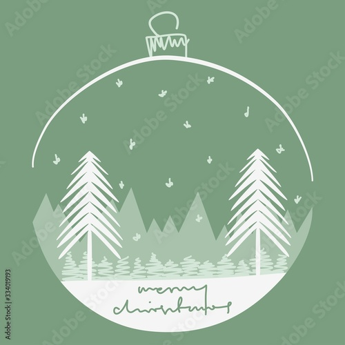 Photo Merry christmas greetings card, forest closed in babble shape