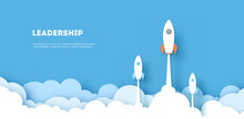 Horizontal Rockets Are Competing To Destinations Up To The Sky Go To Success Goal On Blue Background. Business Financial Concept. Leadership. Creative Idea. Illustration Vector. Paper Cut