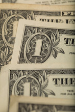 Abstract Textured Backdrop With One Dollar Bills For Shopping And Investments