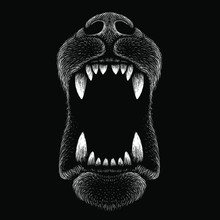 The Vector Logo Dog  For Tattoo Or T-shirt Design Or Outwear.  Cute Print Style Dog  Or  Puppy  Background. This Drawing Would Be Nice To Make On The Black Fabric Or Canvas.