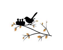 Birds In Nest On Branch On Tre...