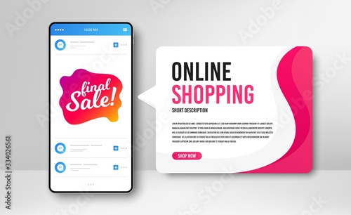 Phone banner template. Final sale badge. Discount banner shape. Coupon bubble icon. Social media banner with smartphone screen. Online shopping web template. Final sale promotion badge. Vector