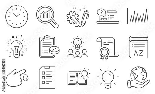 Photo Set of Science icons, such as Checklist, Medical prescription