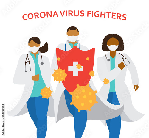 Doctors in masks and uniform holding big shield fighting corona virus. Different races medecine workers running. Vector illustration. Wall mural