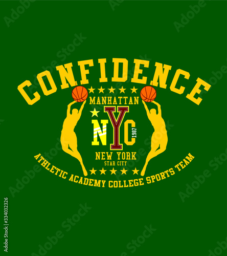 Manhattan college sports Basketball graphic design vector art Canvas Print