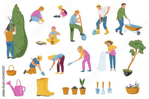 Obraz Spring Gardening Icons Collection - fototapety do salonu