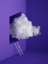 3d Render, White Fluffy Cloud Flying Out The Window, Ladder, Stairs, Hole Inside The Wall. Minimal Room Interior. Objects Isolated On Violet Blue Background, Modern Design, Abstract Metaphor.