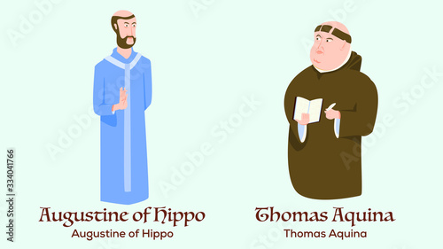 Cartoon characters of philosophers Augustine of Hippo and Thomas Aquino Canvas Print