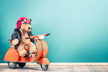 Retro Teddy Bear Toy In Red He...